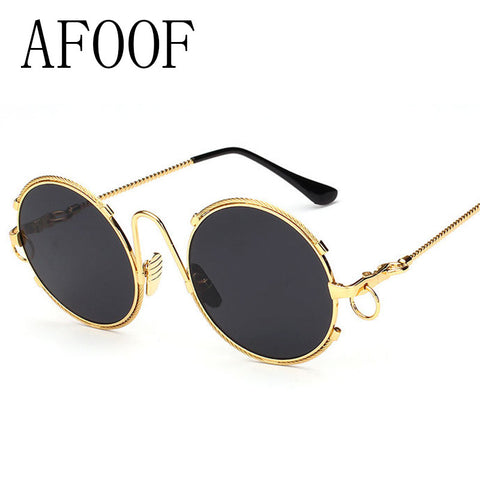 AFOOF 2016 Fashion Sunglasses Big Round Women Sunglasses New Luxury Brand Design Alloy Frame  Sunglasses Chain Legs Points UV400