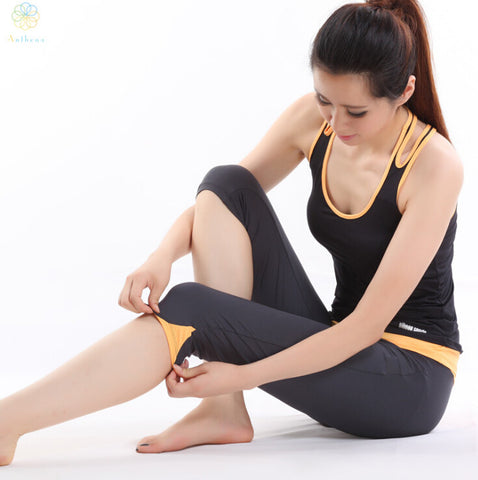 2015 Top quality cropped Top + Pants suits woman clothes sets Yoga tights Running Fitness Sports Nylon Dresses Leggings capris