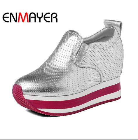 ENMAYER 4cm Height Increasing Women Sneakers Shoes Women New wedge sneakers Spring / Autum Leisure Gold silver Hot Sale