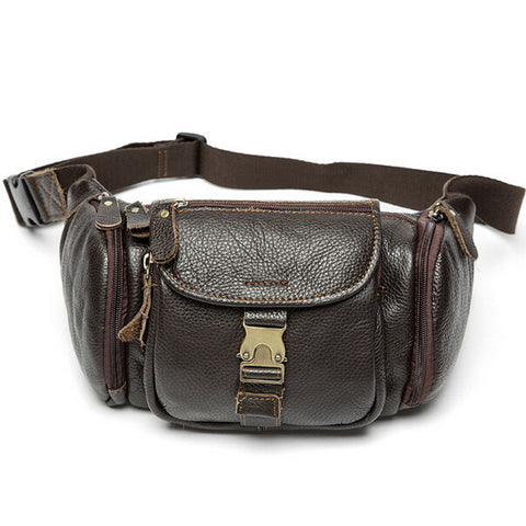 100% genuine leather waist bag men bags fanny pack first layer cowhide leather waist pack belt bag men genuine leather bags mini