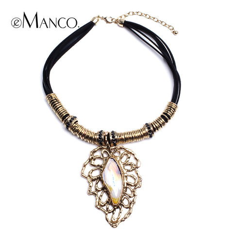 //Black rope choker necklace gold enamel collar// zinc alloy jewelry summer 2015 fashion europe and america stylish eManco