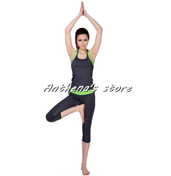 2015 Top quality pilates yoga suits Top + Pants sets Women's jumpsuit bodysuit Solid Nylon Dresses running fitness sports tights