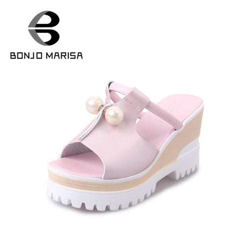 2016 elegant beads peep toe pink/silver/white women platform sandals fashion wedges high heels woman party slides shoes