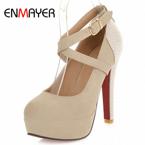 ENMAYER 2014 fashion platform pumps sexy high-heeled shoes heels round toe platform shoes women's Wedding Prom Shoes size 34-42