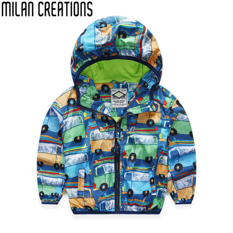 Boys Jacket Spring 2016 Brand Children Jackets for Boys Coat Car Prints Kids Clothes Waterproof Windbreaker Baby Boys Outerwear