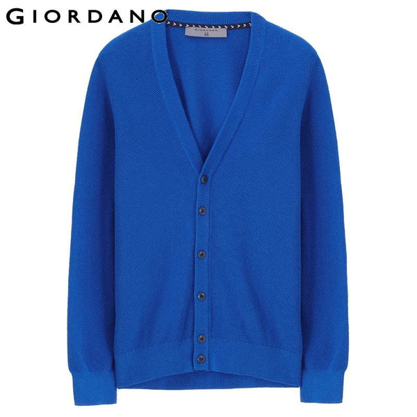 Giordano Men V-neck Jacquard Cardigan Brand Casual Kintwear Male Long Sleeve Sweater for Men Pull Homme Marque