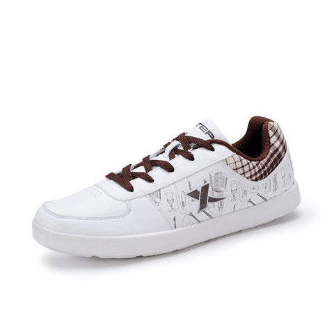 100% Original Xtep Men and Women Casual Fashion Skateboar Shoes PU Leather Skater Sneakers High Tops Plus Size Free Shipping