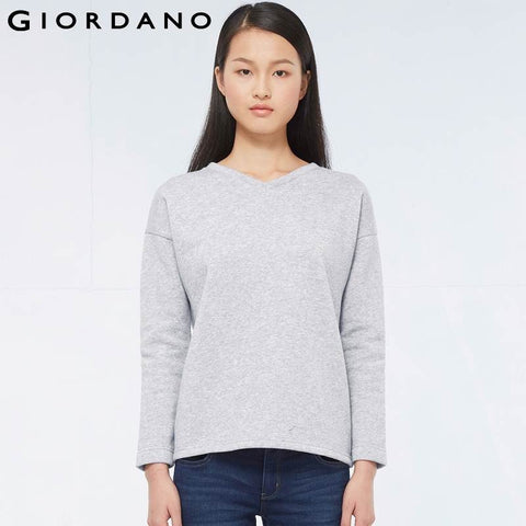 Giordano Women Fleece-Lined Sweatshirt Solid Loose Pullover V-Neck Womens Sweatshirts for Woman Casual Wear Famous Brand