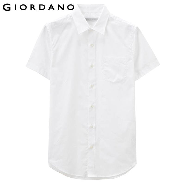 Giordano Men Shirt Pin-stripes Short Sleeve Oxford Shirt Marque Chemise Homme Overhemd Mens Blouse Office Clothing