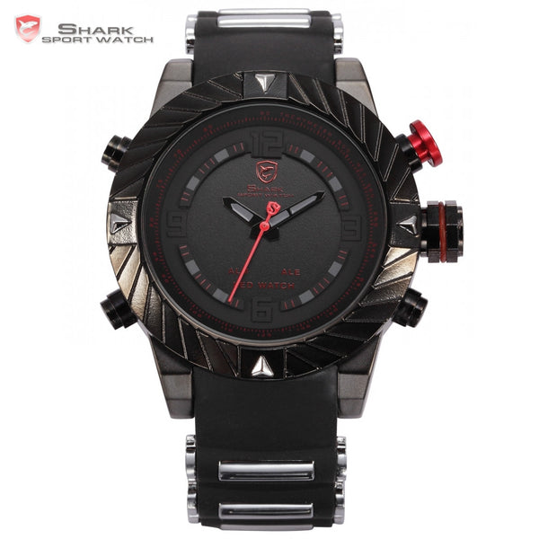 New Brand Shark Sport Watch Tooth Racing 3ATM Digital Waterproof Silicone Strap Black Red Fashion Men Casual Wristwatch / SH166