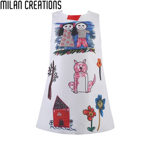 Girls Winter Dress Baby Girl Clothes Scrawl Pattern Cotton Girls Dresses 2015 Brand Designer Princess Dress Kids Clothes 2-10Y