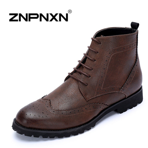 Fashion Charming Stylish Genuine Leather Ankle Oxfords Boots Mens Slip-On Brogues Shoes With Lace-Up Band  Autumn Winter Trendy