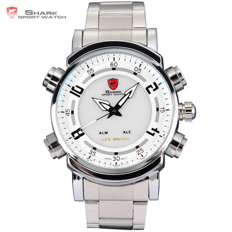 Basking SHARK Sport Watch Digital Red LED Dual Time Date Alarm Stainless Steel Band White Quartz Military Mens Wristwatch /SH062