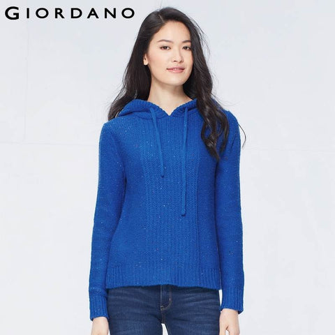 Giordano Women Hooded Cable Knitting Sweater Womens Woolen Top Wear Thicken Knitted Jumpers Abbigliamento Donna Pullovers