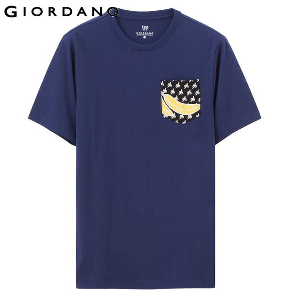 Giordano Men T-shirt Short Sleeves Graphic Crewneck Cotton T-shirts Solid Jersey Camisetas Chemise Homme Casual Tees
