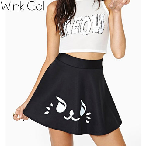 Fashion for ur ban outfitters black cute smiley wind pleated mini short skirt