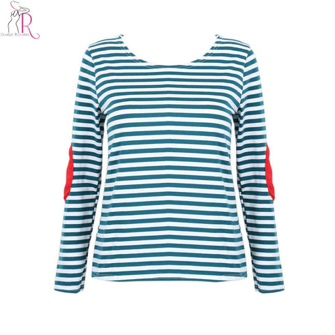 3 Colors Striped Long Sleeve Applique Elbow T-shirt Tee Patched Contrast Loose Casual Women Streetwear Top 2016 Summer Women