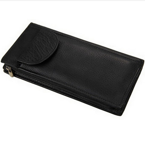 100% Genuine Leather Men Wallets Men's Long Zipper Wallet Leather Clutch Business Brand Card holder Purse Carteira Masculina
