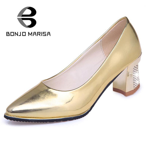 2016 hot sale platform comfortable sole concise grace slip on bling upper women pumps pointed toe high square thick heels shoes