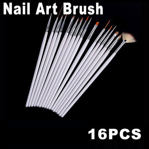 16pcs White Nail Brush Brushes Set Free Shipping Dropshipping
