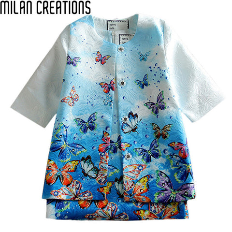 2015 Children Clothing Sleeveless Girl Dress Vestidos Infantis Dobby Cotton Printed Kids Dresses For Girls (Dress+Coat)Wholesale