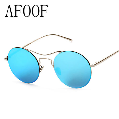 AFOOF 2016 Fashion Sunglasses Brand Design Alloy Frame Women Men Round Flat Coating Mirror Lens Sun Glasses UV400 Oculos de sol