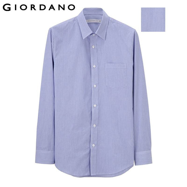 Giordano Men Shirt Pin-Striped Office Brand Social Male Shirts Long Sleeve Casual Blusas Chemise Homme Camisa Masculina