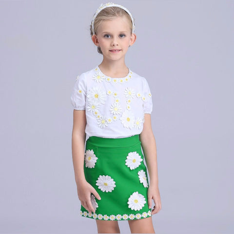 Girls Clothes Summer 2016 Brand Girls Clothing Sets Kids Clothes Daisy Floral Children Clothing Toddler Girl Tops+Skirt 3-12Y