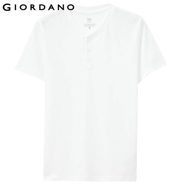 Giordano Men T-shirt Solid Henley Tee Shirt Crewneck Short Sleeves Carbon Cotton Soft Jersey Mens Tops True Slim Fit