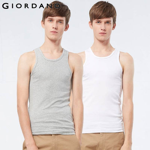 Giordano Men Essential Solid Vest Cotton Male Sleeveless Tops Slim Undershirt Chalecos Hombre Tank Top Men