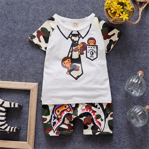 Baby Boys Summer Clothing Sets Toddler T-shirt & Pant Set 2016 Fashion Style Camouflage Printed Kids Cloth Children Clothes Sets
