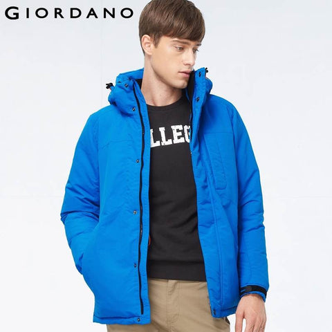 Giordano Men Down Jacket Winter Warm Outdoor Long Parka Coat Machine Washable Casual and Fashion Thick Duck Down Mens