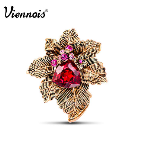 2015 Newest Viennois Fashion Jewelry Antique Gold Plated Woman Flower Brooches Pins with Austrian Rhienstone Red Crystal