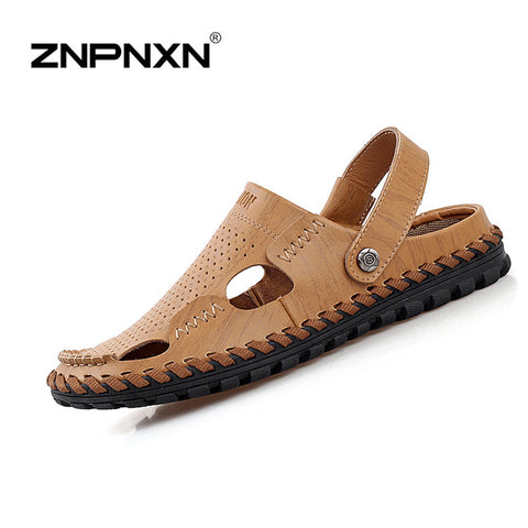 2016 NEW leather sandals men beach slippers for men sandals summer shoes