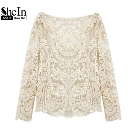 2014 Hot Top New Summer Women's Fashion Hollow Crochet Lace Shirt Casual Beige Long Sleeve Blouse