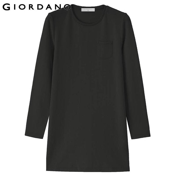 Giordano Women Solid Jacquard Tee Womens Crop Sleeve O Neck Pullovers Solid Cotton T-shirts Famous Brand Women Clothing
