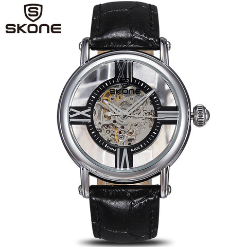 2014 Luxury Brand Skone Skeleton Watches Mechanical Women Watch Genuine Leather Waterproof  Free Shipping