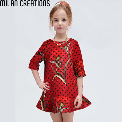 2015 Spring Autumn Baby Girls Dress Flower Pattern Casual Children Dress Vestidos Girl Dress Brand Princess Dresses Kids Clothes