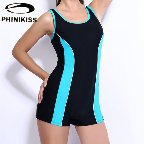 Blue Black Patchwork One Piece Swimsuit For Women Professional Sports Swimwear Full Brief Boxer Monokini Slimming Bodysuit