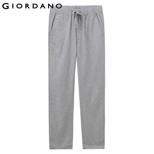 Giordano Men Pants Linen Solid Slim Fit Pockets Cotton Trousers Pantolones Brand Clothings Casual Hombre Khakis Black