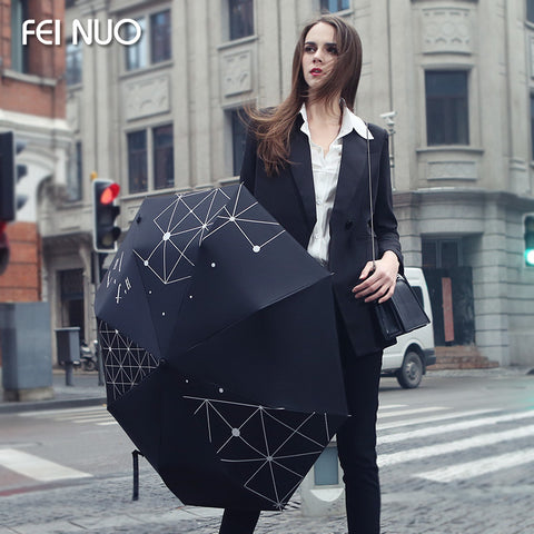 High quality luxury brand three folding black coating female anti-uv sunshade umbrella women outdoor rain umbrellas parasol