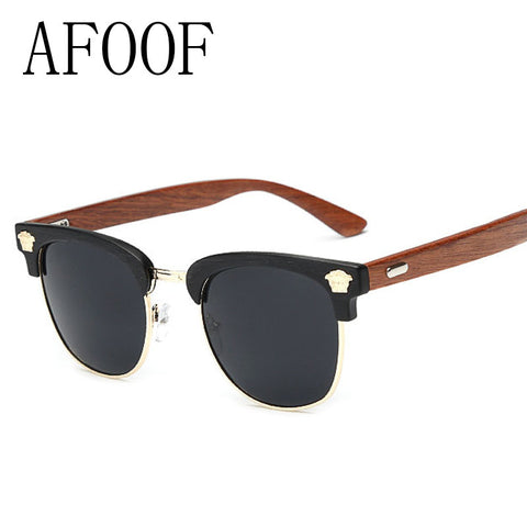 AFOOF 2016 Fashion Sunglasses Brand Designer Wood Grain Frame Women Sun glasses UV400 Vintage Classic Men Wooden Foot Sunglass