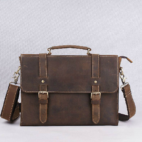 100% Cowhide leather men's business briefcase Genuine leather men messneger bags vintage shoulder computer Luxury leather bag