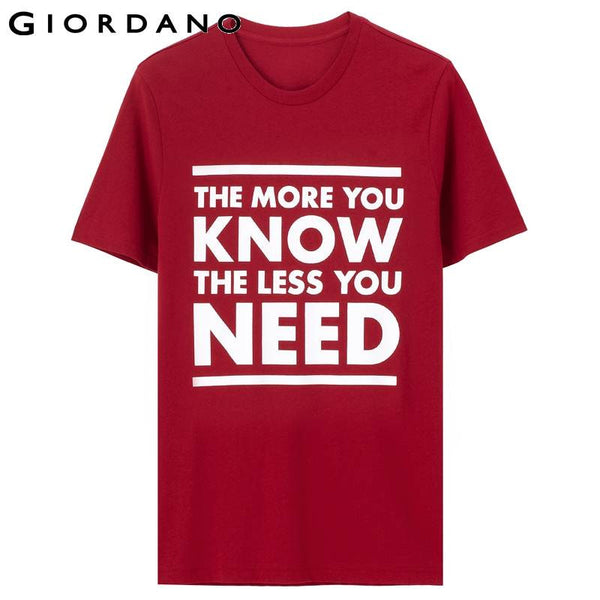 Giordano Men T-shirt Short Sleeves Slogan T-shirts Casual Fitness Black T-shirts Man Masculina Camisetas Branded Clothes