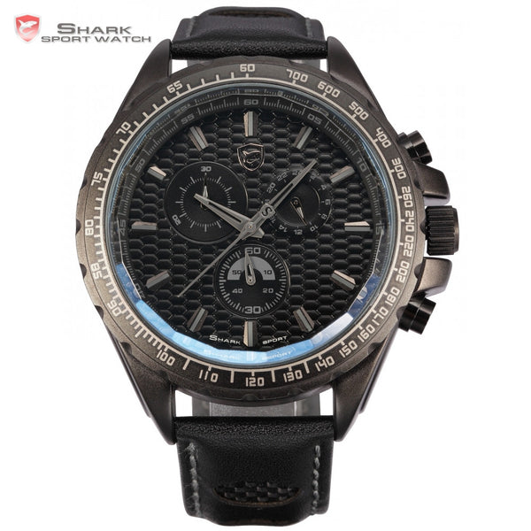 Frilled Shark Sport Watch Black Male Clock 6 Hands Stop Watch Chronograph Japan Movement Analog Outdoor Men Quartz Watch / SH192