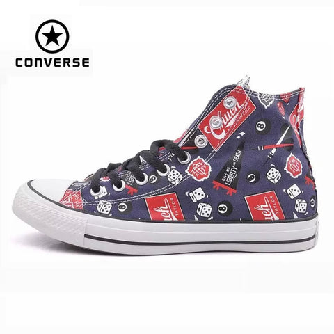 Original Converse all star shoes men sneakers Hand-painted graffiti canvas shoes men high classic Skateboarding free shipping