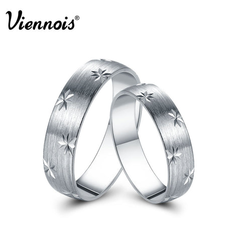 Viennois New Fashion Jewelry 925 Sterling Silver Ring Star Lover Couple Rings for Women Men Valentine's Day Gift