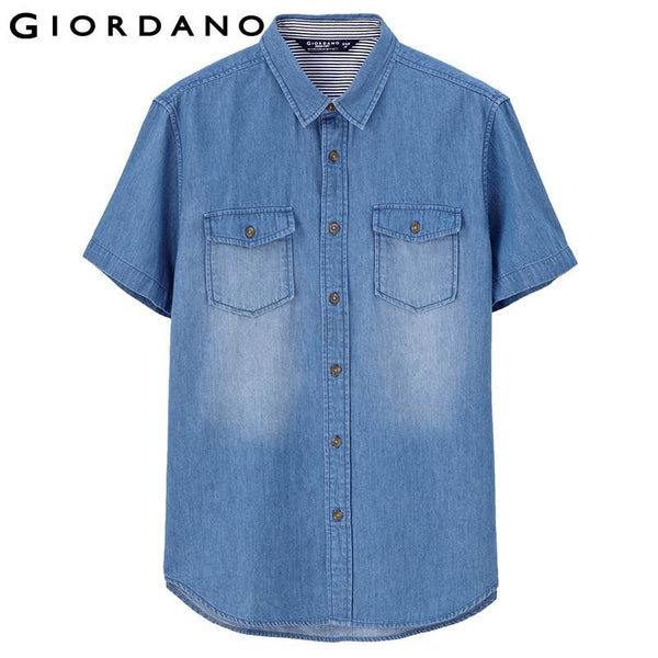 Giordano Men Denim Shirt Pocket Collar Jeans Shirts Short Sleeve Button Fine Washed Homme Vetement Casual Clothing Camiseta