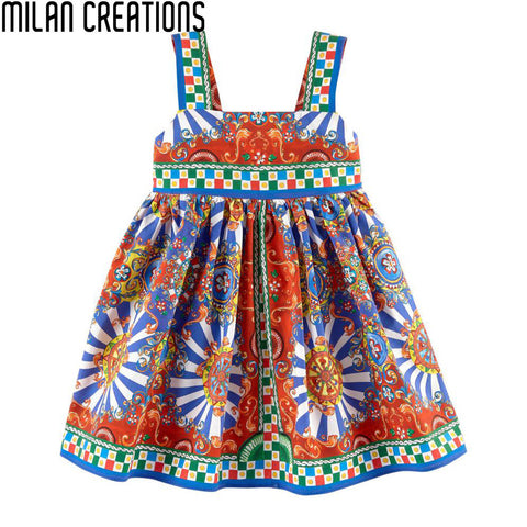 Baby Girl Dress 2016 Brand Cotton Girls Summer Dress Kids Clothes Designer Carretto Siciliano Pattern Kids Dress Girl Costume
