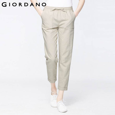 Giordano Women Linen Pants Solid Casual Solid Cotton Blend Tapered Fit Trousers Pantaloni Mujer Loose Summer Harem Pants